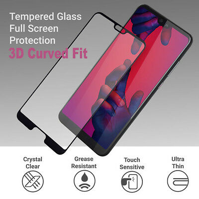For Huawei P20 / P20 Lite/ P20 Pro Full Glass 3D Tempered Glass Screen Protector • 2.99£