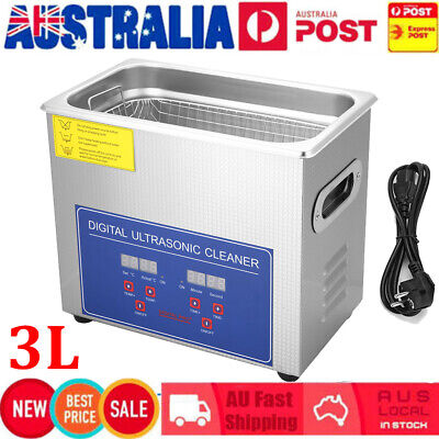 AU112.89 • Buy 3L Ultrasonic Cleaner Stainless Steel Ultra Sonic Bath Heater Tank Timer AU