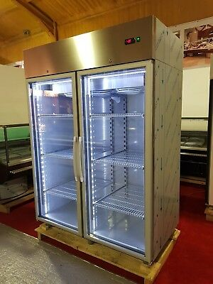 Double Door Upright Display Freezer/led Lights/full Stainless F1400 • 2,450£