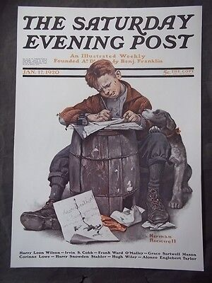 $ CDN12.75 • Buy Saturday Evening Post January 17 1920 Norman Rockwell (COVER ONLY) Reprint