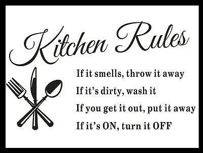 £4.45 • Buy Kitchen Rules, Retro Metal Sign/Plaque Wall Vintage / Kitchen Gift