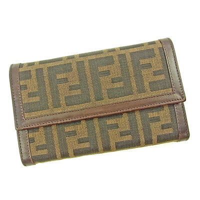 AU211.53 • Buy Fendi Wallet Purse Trifold Zucca Black Brown Woman Unisex Authentic Used S665
