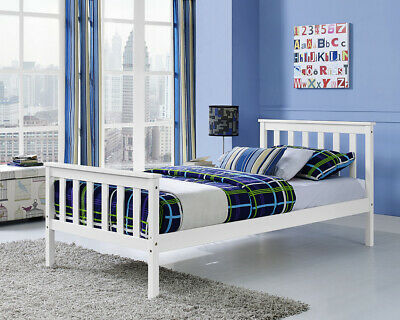 £74.99 • Buy White Wooden Single Bed Frame With Mattress Option Solid Pine Wood Brand New