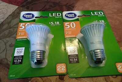 2 Great Value LED Light Bulb, 7W (50W Equivalent), Dimmable, Soft White, PAR16  • 11.99$