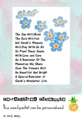 Funeral Seed Packets Forget Me Not Flowers Memorial Favour White Personalised • 4£