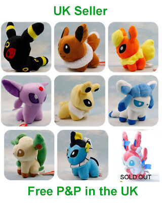 Pokemon Evolution Of Eevee 9x5in & Pikachu 9in Plush Collectable Cute Fun Gift  • 6.95£