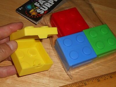 $4.95 • Buy Building Brick Block Shaped Party Favors/Square Plastic Box Opens W/Lid Not Lego