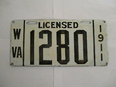 $ CDN2000.09 • Buy 1911 West Virginia PORCELAIN  License Plate Tag