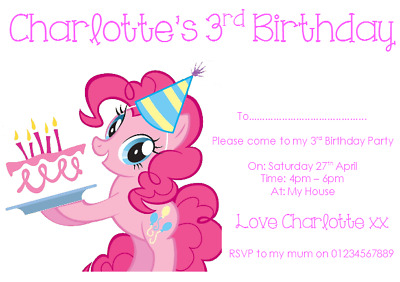 Personalised Photo Paper Card Party Invites Invitations MY LITTLE PONY #3 • 1.99£