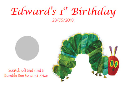 PERSONALISED 1st BIRTHDAY PARTY FAVOUR SCRATCHCARDS THE VERY HUNGRY CATERPILLAR • 0.99£