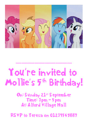 Personalised Photo Paper Card Party Invites Invitations MY LITTLE PONY #4 • 2.49£