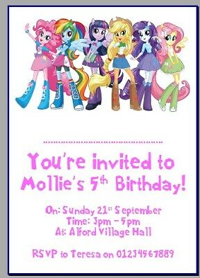 Personalised Photo Paper Card Party Invites MY LITTLE PONY EQUESTRIA GIRLS • 1.99£