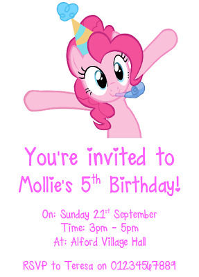 Personalised Photo Paper Card Party Invites Invitations MY LITTLE PONY #2 • 1.99£