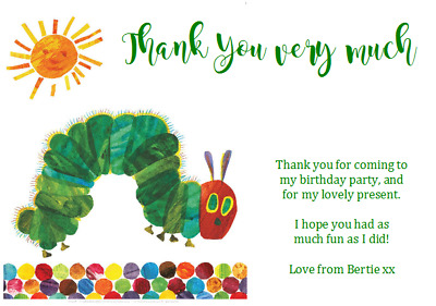 Personalised Birthday 1st Party Thank You Notes THE VERY HUNGRY CATERPILLAR • 0.99£