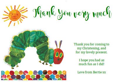 Personalised Birthday Thank You Notes THE VERY HUNGRY CATERPILLAR CHRISTENING • 0.99£