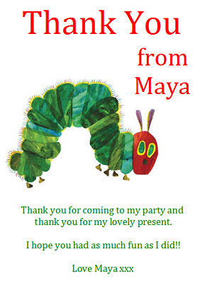 Personalised Photo Paper Card Party Thank You Notes VERY HUNGRY CATERPILLAR #4 • 0.99£