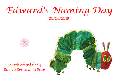 Personalised Naming Ceremony Day Favour Scratchcards The Very Hungry Caterpillar • 5.99£