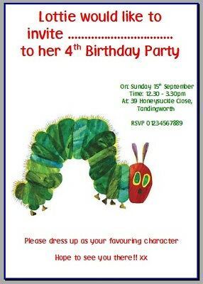 Personalised Photo Card Party Invites Invitations VERY HUNGRY CATERPILLAR #2 • 0.99£