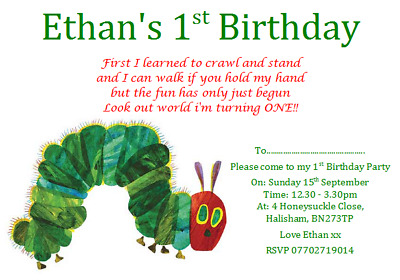 Personalise Party Invites Invitations THE VERY HUNGRY CATERPILLAR 1ST BIRTHDAY • 7.49£