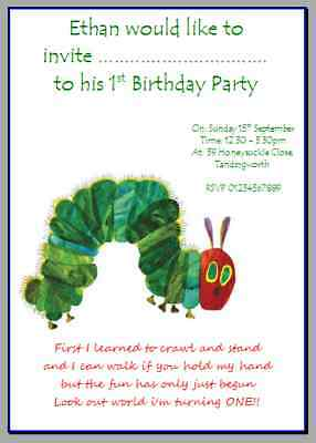Personalised Photo Card Party Invites Invitations VERY HUNGRY CATERPILLAR #1 • 3.99£