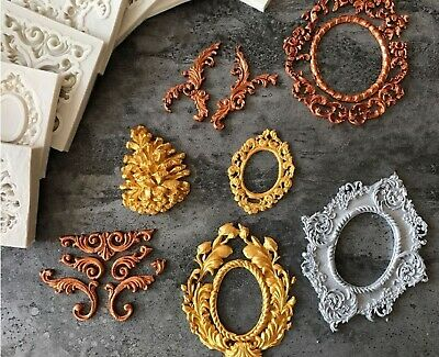 Antique Relief Baroque Frame Silicone Mould Border Embossing Fondant Cameo  • 4.69£