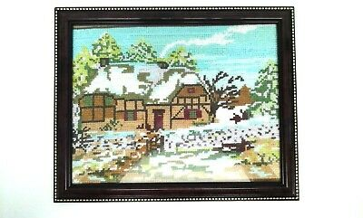 Vintage Completed / Finished Cross Stitch / Needlepoint - Cottage With Snow • 11.95£
