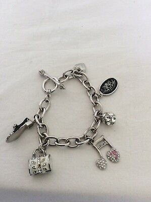 JUICY COUTURE Genuine Silver Tone Charm Bracelet, 6 Charms • 17£