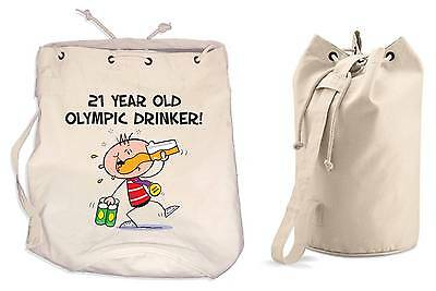 OLYMPIC DRINKER 21st BIRTHDAY DUFFLE BAG - Gift Present Backpack • 13.99£