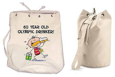 OLYMPIC DRINKER 60th BIRTHDAY DUFFLE BAG - Gift Present Backpack • 13.99£