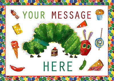 The Very Hungry Caterpillar Personalised A4 CAKE TOPPER, EDIBLE ICING SHEET • 4.95£