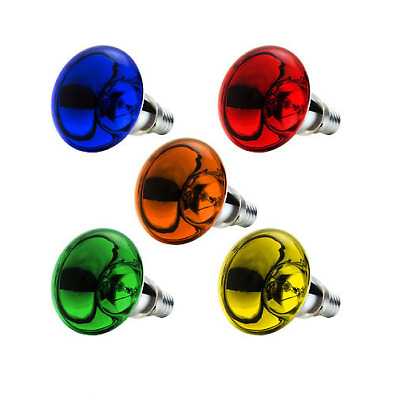 25W R50 Coloured Spot Light Reflector Bulb SES/E14 - Red Amber Yellow Green Blue • 9.97£