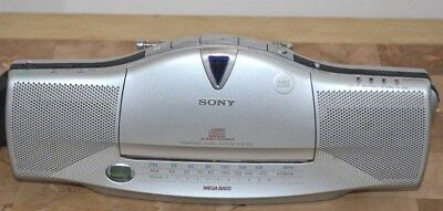 Sony CFD-E10 Mini AM/FM Stereo/CD Player Silver Tested Working • 17.98$
