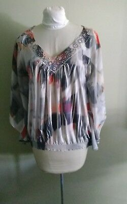 $8.88 • Buy ONE WORLD LIVE AND LET LIVE Top ~BOHO Size L~NWOT BEAUTIFUL Batwing Sheer Sleeve