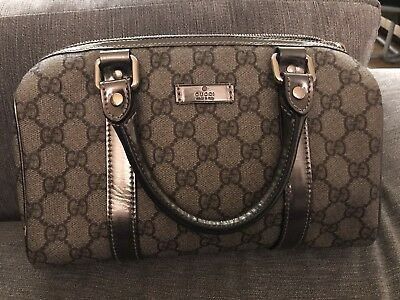 9bac324c5 GUCCI Beige/Pewter GG Coated Canvas Small Joy Boston Bag • 215.00$