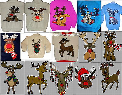 £4.50 • Buy Childrens & Adults Christmas Rudolph Jumper Knitting Patterns X15 On Disc #1