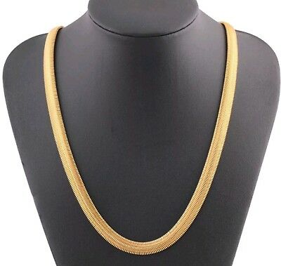 18K Gold Plated High Quality Long Thick Flat Snake Bone Style Necklace 8MM 60CM  • 7.45£