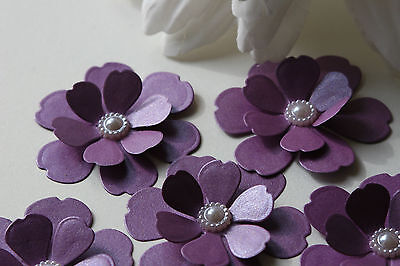 £2.99 • Buy 12 3d Cadbury Purple Shimmer Flowers Card Topper Wedding Stationery Mothers Day