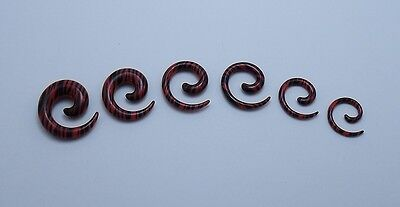 $1.99 • Buy 1 Pair 8g - 00g Red And Black Zebra Acrylic Spiral Tapers  Choose Your Size