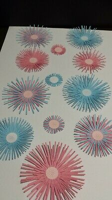 Die Cut Handmade Mixed Pastel Spiky Flower Card Toppers, Embellishments / 12 • 2.65£