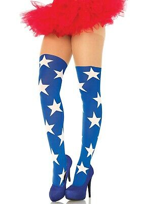 Superstar Tights W/Sheer Thigh, Comic Book Fancy Dress, Hero Stockings, Comicon • 13.99£