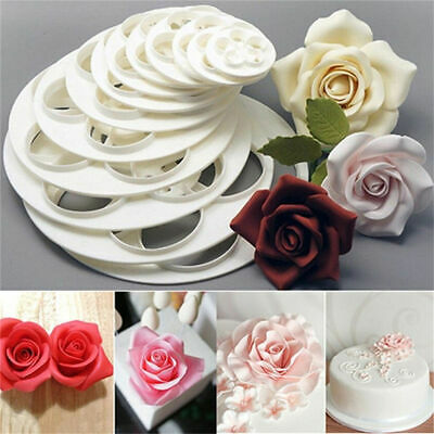 Rose Flower Cutter Set Of 9 Fondant Mould Cake Decorating Sugar Craft Icing  • 5.99£