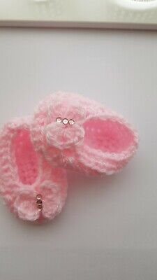 Baby Girls Crochet Shoes Pink With Bows And Bling Handmade  0/3 Mths  • 1.99£