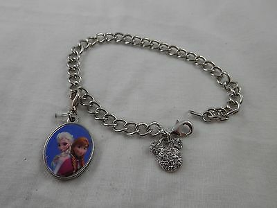 Disney Minnie Mouse  Crystal Charm Bracelet With Frozen Ana & Elsa Charm • 21.98£