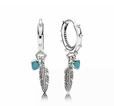 Genuine Pandora Spiritual Feathers Drop Earrings - 297205EN168 S925 ALE • 19.89£