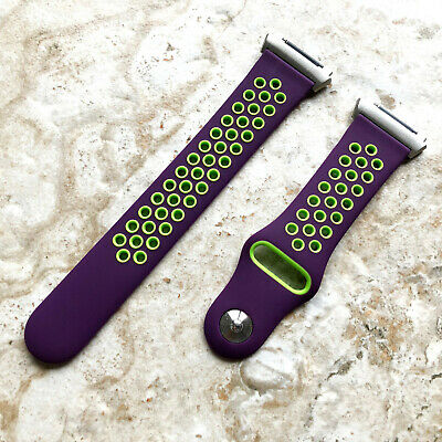 AU37.23 • Buy Purple With Green Smooth Rubber Silicone Sports Band Strap For Fitbit Ionic