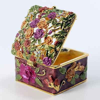 $14 • Buy Bejeweled Flower Motif Trinket Box With, Faberge  Figurine With Crystals In Red