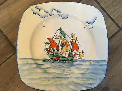 Art Deco Style Galleon Ship Cake Stand - Coronet Ware Parrot And Company England • 55£