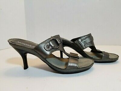 Aerosoles Pewter Gray Women's 6M Shoes Dame Slip On Leather Sandals Heels • 18.09£