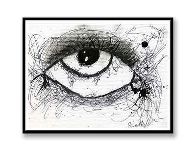 £4.99 • Buy Ink And Charcoal Eye - A4 Print Of Drawing Unique Gift