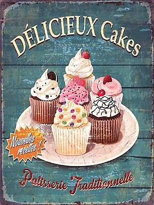 Delicieux Cakes, Retro Metal Sign/Plaque, Gift, Kitchen, Cafe • 4.46£